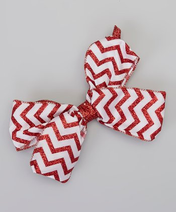 Red & White Glitter Zigzag Bow Clip