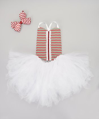Red & White Zigzag Top & Tutu Set - Toddler & Girls