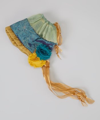 Gold & Teal Ruffle Bonnet