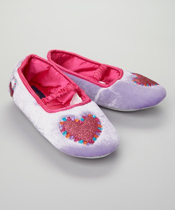 Purple Sparkle Heart Slipper - Kids