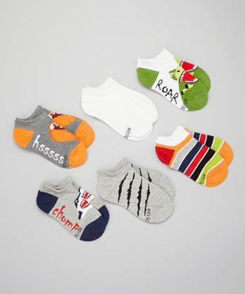 Gray & Blue 'Roar' & 'Hssss' No Show Sock Set