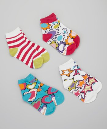 Hot Pink & White Graffiti Sock Set