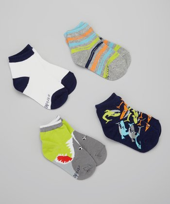 Gray & Blue Sharks Sock Set