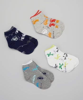Gray & Blue Vehicle Sock Set