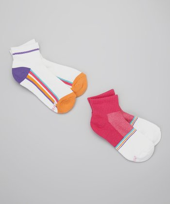 Pink & White Sporty Sock Set