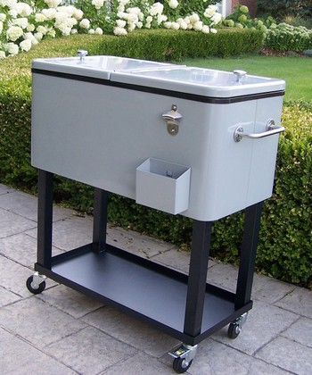 Gray Wheeled Patio Cooler Cart