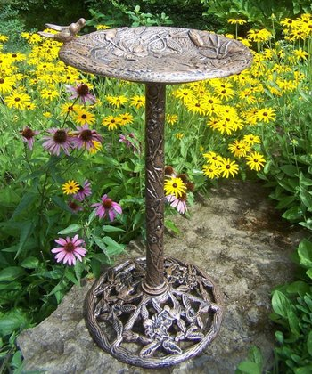 Antique Bronze Hummingbird Birdbath