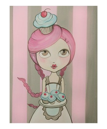 Apron Cupcake Girl Canvas Art