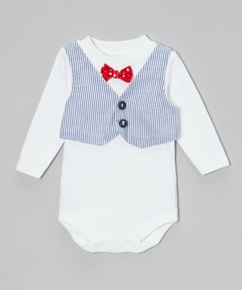 Caught Ya Lookin' Blue Seersucker Vest & Red Bow Tie Bodysuit - Infant