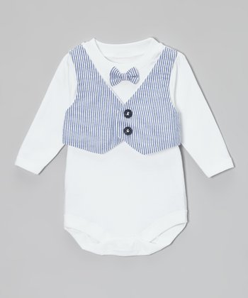 Caught Ya Lookin' Blue Seersucker Vest & Bow Tie Bodysuit - Infant