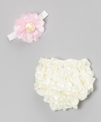 White Ruffle Petal Bloomers & Pink Flower Headband - Infant