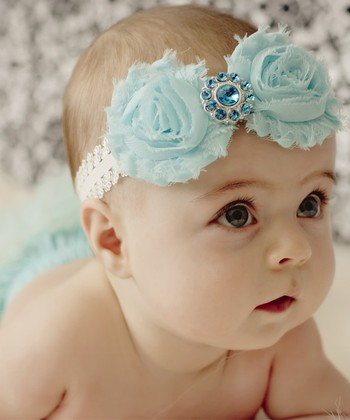 Aqua Shabby Diaper Cover & Headband