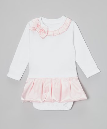 White & Pink Satin Skirted Bodysuit - Infant