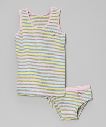 Pink & Blue Stripe Tank & Underwear - Infant, Toddler & Girls