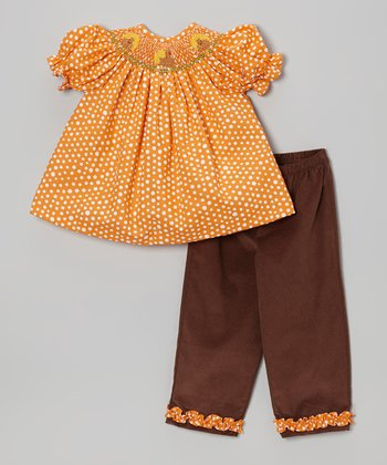 Orange Turkey Smocked Top & Pants - Infant, Toddler & Girls