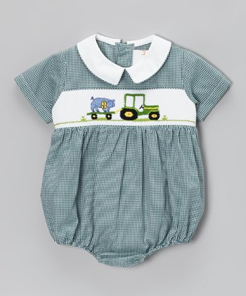 Green Gingham Tractor Smocked Bubble Bodysuit - Infant
