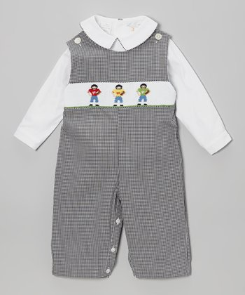 White Top & Gray Football Smocked Overalls - Infant & Toddler