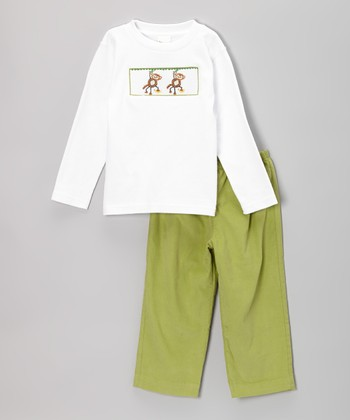 White Monkey Smocked Tee & Green Pants - Infant & Toddler