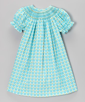 Aqua Geometric Bishop Dress - Toddler & Girls