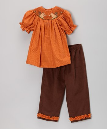 Orange Squirrel Smocked Top & Pants - Infant, Toddler & Girls