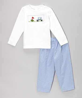 White Golf Smocked Tee & Blue Pants - Infant & Toddler