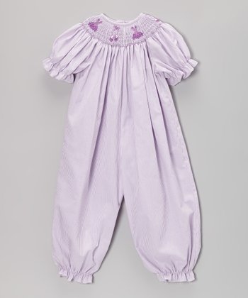 Lavender Ballet Smocked Bubble Playsuit - Infant