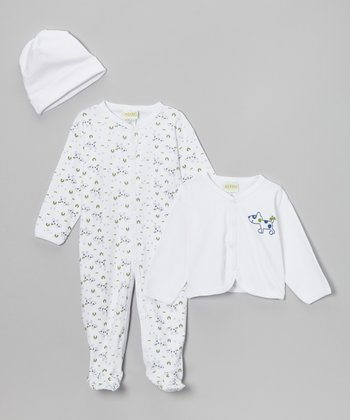 White Puppy Cardigan Set - Infant