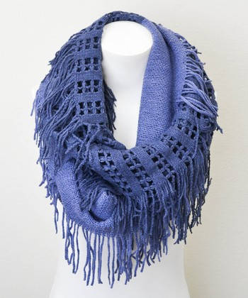 Blue Lattice Tassel Infinity Scarf