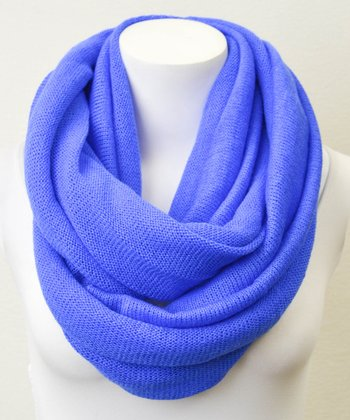 Blue Solid Knit Infinity Scarf