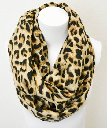 Leto Collection Brown Leopard Infinity Scarf