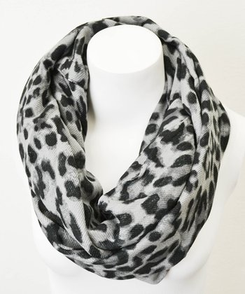 Leto Collection Gray Leopard Infinity Scarf