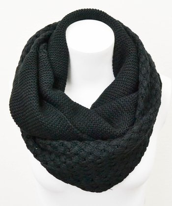 Leto Collection Black Basket Weave Infinity Scarf