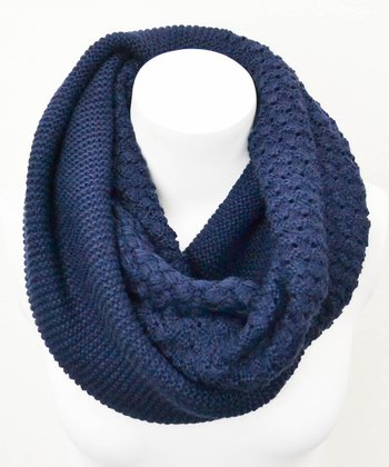 Leto Collection Navy Basket Weave Infinity Scarf
