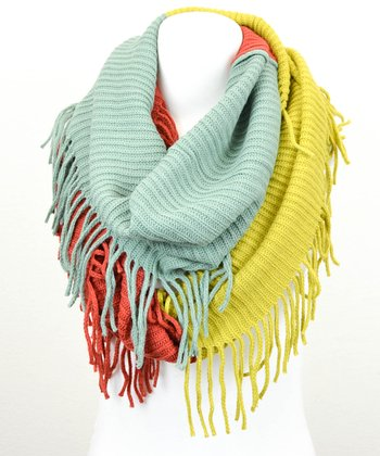 Leto Collection Rust Color Block Tassel Infinity Scarf