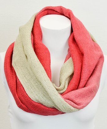 Leto Collection Coral Ombré Infinity Scarf