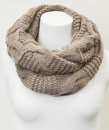 Leto Collection Mocha Alternating Cable Knit Infinity Scarf