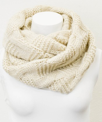 Leto Collection Ivory Alternating Cable Knit Infinity Scarf