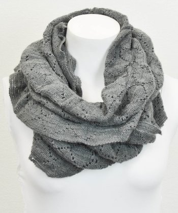 Leto Collection Gray Ruffle Eyelet Infinity Scarf