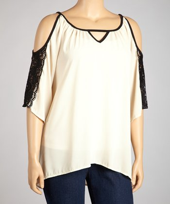 Beige & Black Lace-Trim Cutout Hi-Low Tunic - Plus