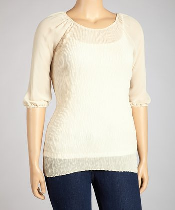 Beige Peasant Tunic - Plus