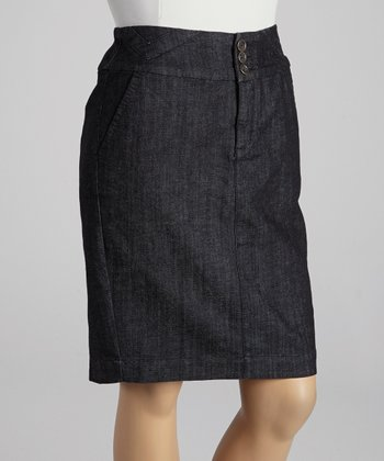 Charcoal Rinse Pencil Skirt - Plus