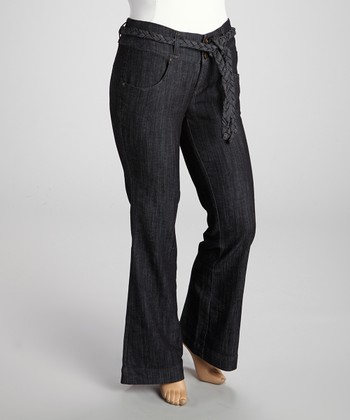 Charcoal Rinse Belted Trousers - Plus