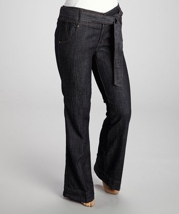 Dark Rinse Belted Trousers - Plus