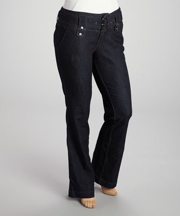 Dark Blue Rinse Belted Trousers - Plus