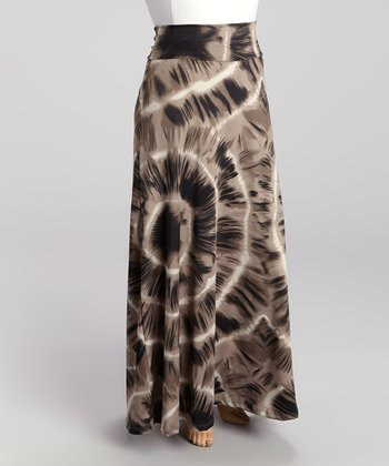 Charcoal Tie-Dye Maxi Skirt - Plus