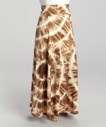 Beige & Brown Tie-Dye Maxi Skirt - Plus