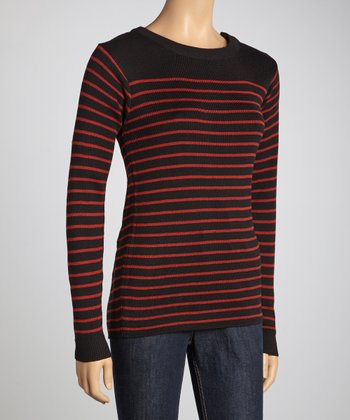 Rust & Charcoal Breton Stripe Long-Sleeve Sweater