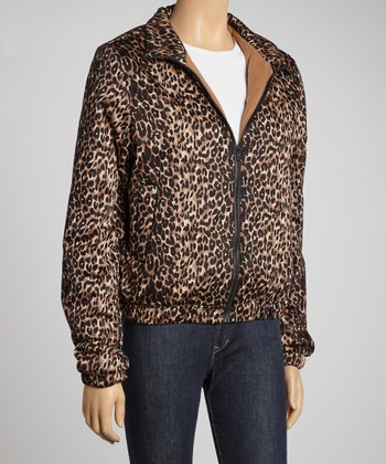 Black & Tan Leopard Puffer Jacket