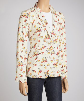 Ivory & Red Lucca Bird Blazer