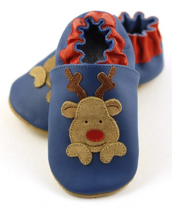 Blue & Brown Reindeer Booties
